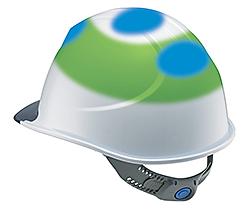 青色の部分… 「保護帽の規格」で定められた衝撃吸収性能試験箇所緑色の部分… 当社独自の試験箇所